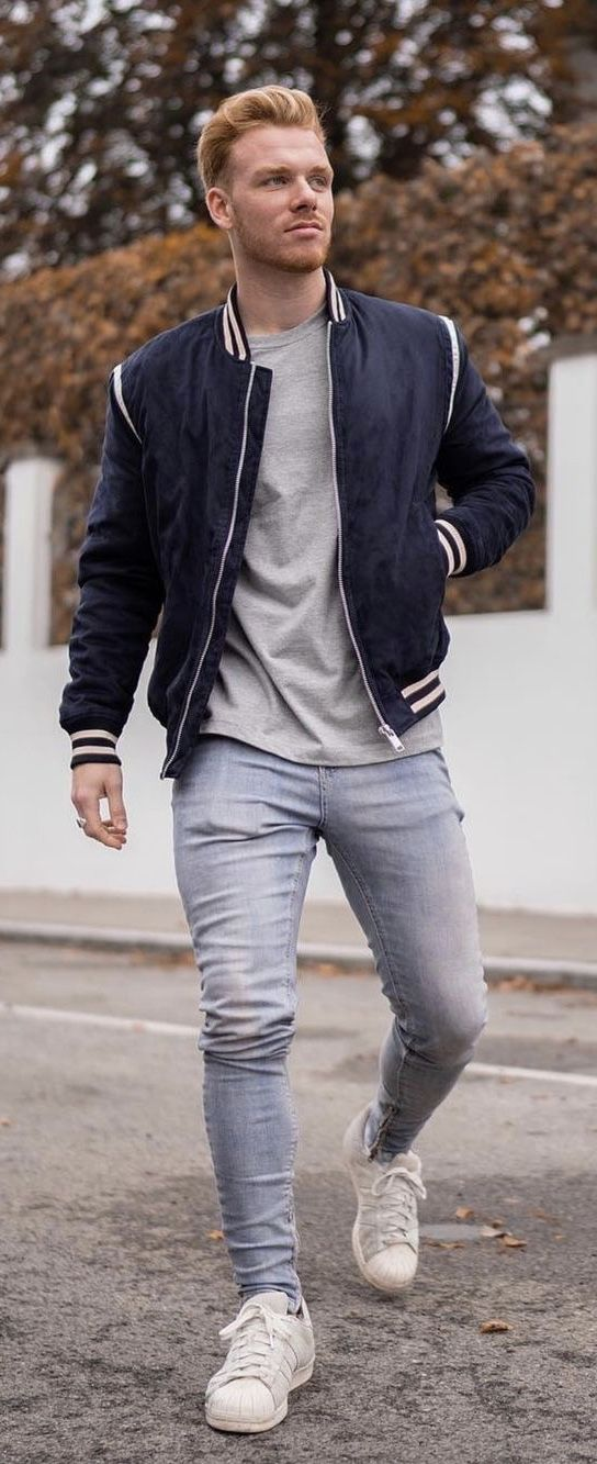 Fall combo inspiration with a navy white zip up jacket gray shirt light wash denim white adidas sneakers. model unknown.  #fallfashion  #falloutfits #menswear #menstyle #mensapparel #mensoutfits #mensfashion #tshirt #whiteshoes #whitesneakers – Carl Qu