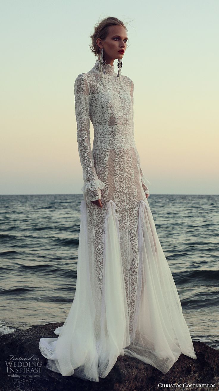 christos costarellos fall 2017 bridal long sleeves high neck full embellishment lace embroidered elegant lace modified a  line wedding dress sweep train (19) mv