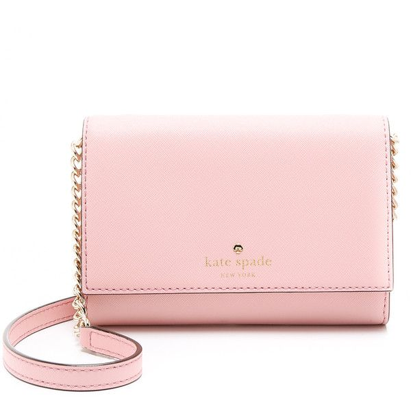 Kate Spade New York Cami Cross Body Bag ($150) ❤ liked on Polyvore featuring bags, handbags, shoulder bags, clutches, rose jade, crossbody handbags, kate spade handbag, kate spade crossbody, pink leather purse and pink purse
