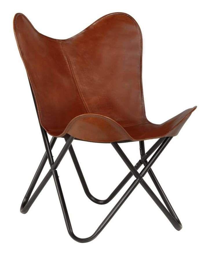 Chaise Papillon En Cuir Marron Butterfly Chair Deco Butterfly