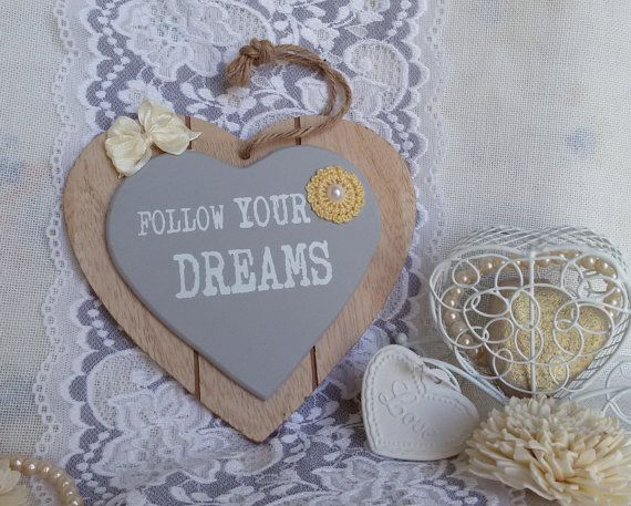 Decorative heart with message hanging heart wooden by Rocreanique on Etsy