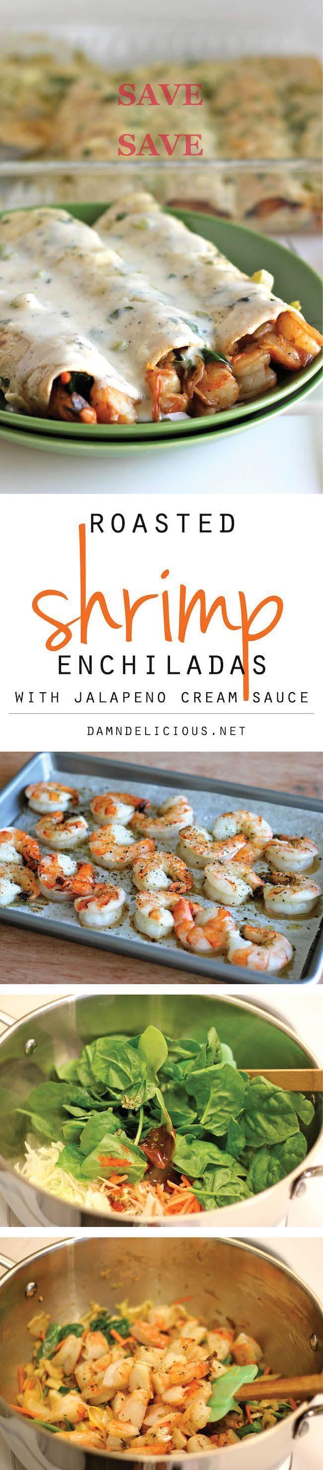 Roasted Shrimp Enchiladas with Jalapeño Cream Sauce _ Smothered in a rich, jalapeño cream sauce, how can you resist?!  @ICookUEat