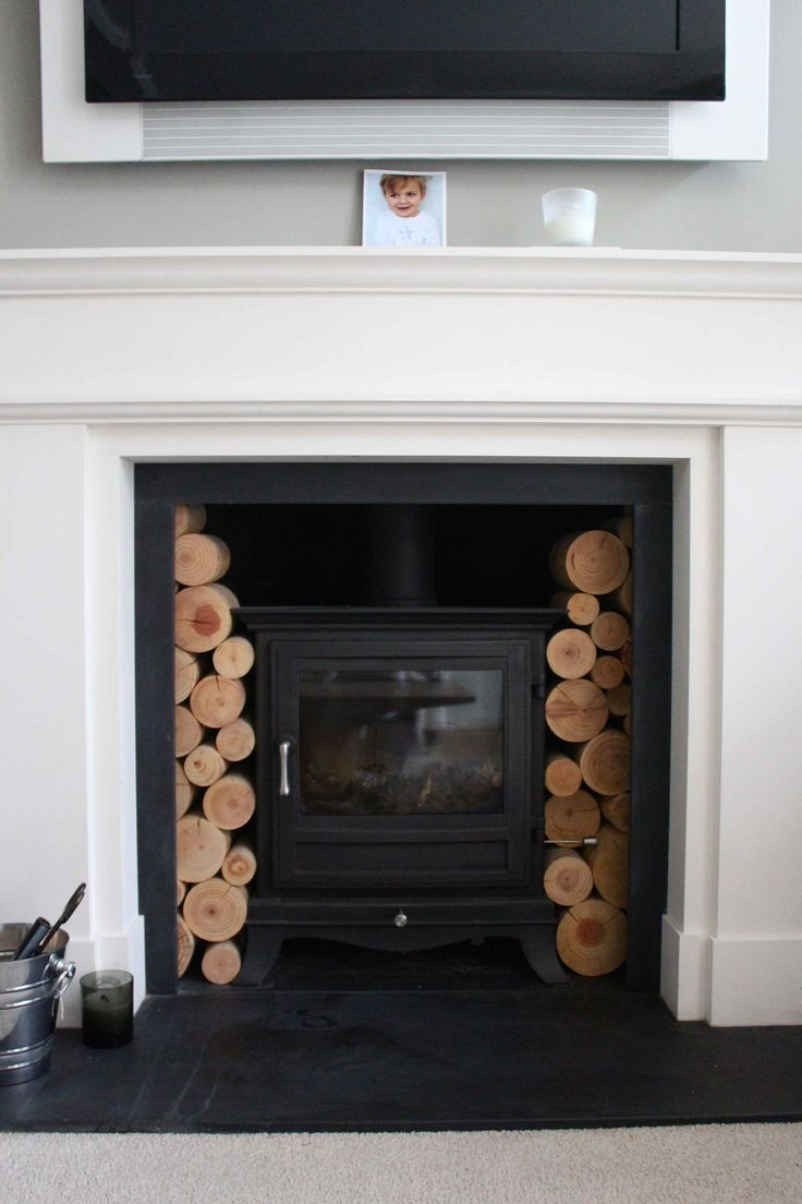 wood burner with white painted fire surround - Google Search