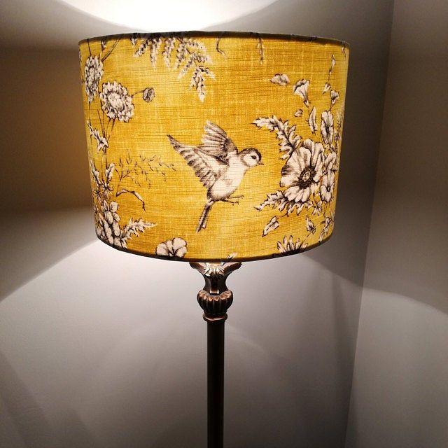 Yellow Bird Lampshade 20cm 25cm 30cm 40cm Drum Lamp Shade Etsy In 2020 Standard Lamp Shades Yellow Lamp Shades Lamp Shade