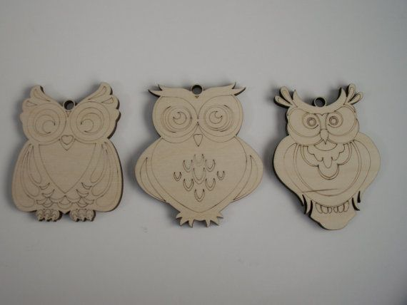 Wood Owls Laser Cut and Etched Owl Ornaments by TomaCraftPlace
