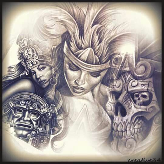 arte cholo chicano aztec drawings pride brown lowrider tattoos drawing tattoo sketches clown evil azteca mexican gangster warrior tatoo mayan