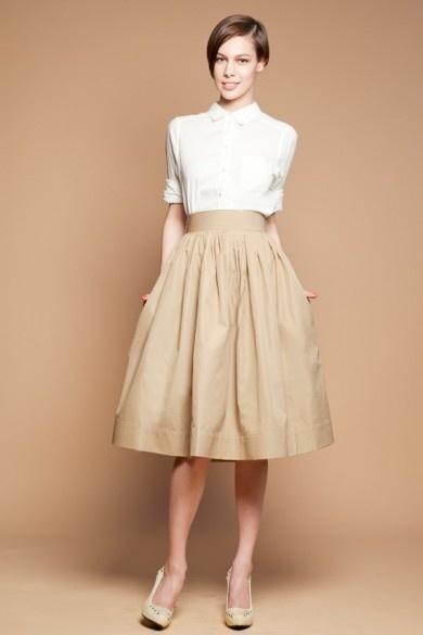 Mrs. POMERANZ / Бежевая юбка «миди»