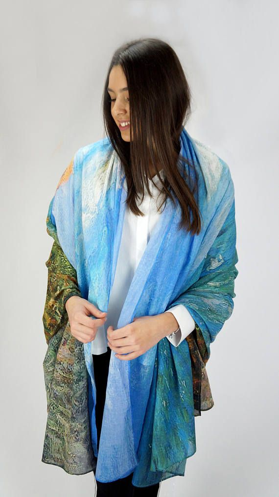 8b0b84674 Coast Pattern Scarf, Sea Blue Print, Claude Monet Scarf, The Cliff Walk at  Pourville Scarf, Painted Scarf, Vintage In… | Scarves We Make - New  Arrivals ...