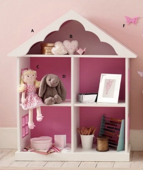 Dollhouse Bookcase from Laura Ashley.  I think totally hackable with an IKEA Expedit shelving unit and some gingerbread trim.