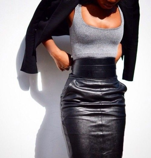 Just a pretty style | Latest fashion trends: Leather pencil skirt and grey cami