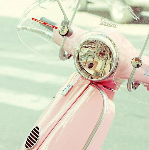 pink vespa...I would so ride around town on this with a pink helmet