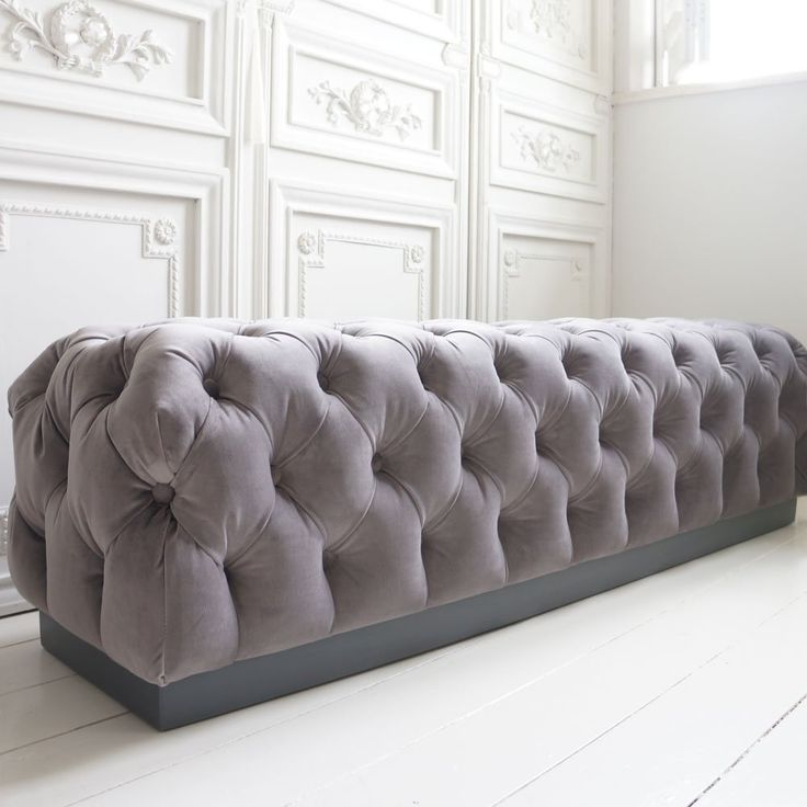 Velvet Chesterfield Bench French Bedrooms Grey And Ottomans