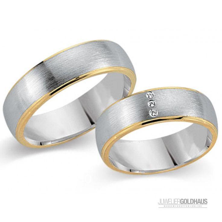 Trauringe Eheringe Gold Gelb/Weiss - CERA3213 - 1029,00€ Trauringe Eheringe bei Juwelier-Goldhaus.de online kaufen #Trauringe #Eheringe aus #Gold Gelbgold - #Goldhaus - Ihr Juwelier-Goldhaus.de #Onlineshop