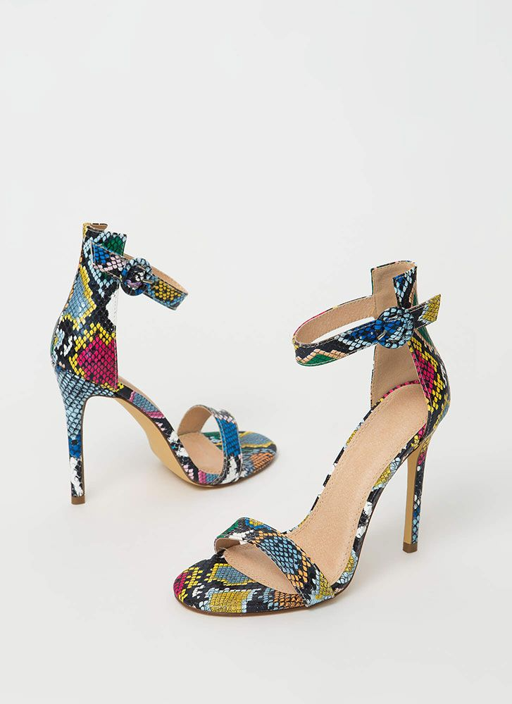 Chic Now Strappy Snake Print Heels