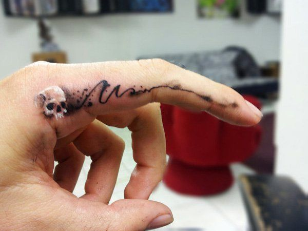 Finger Skull - 55+ Cute Finger Tattoos
