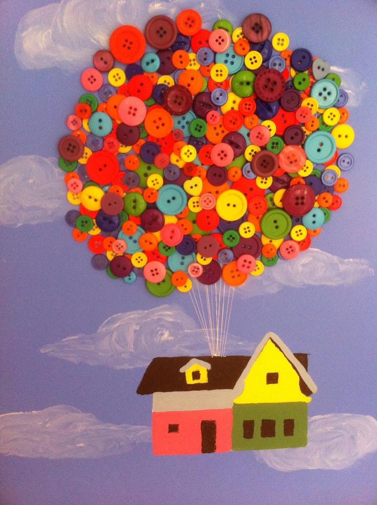 UP balloons made of buttons for my bro.