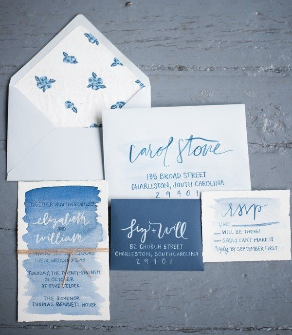 Delft Blue Watercolor Invitation Suite| Delft Blue Wedding Inspiration in a Southern Setting|Photographer: Reese Moore Weddings
