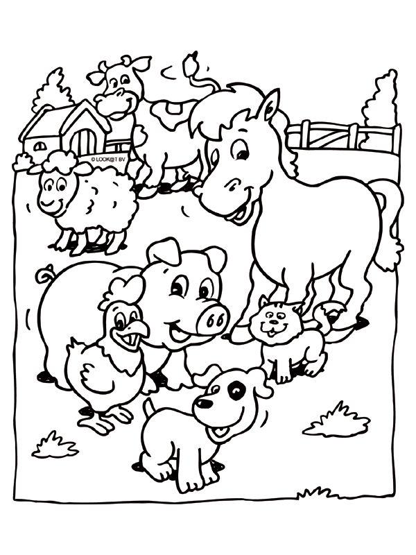 Kleurplaat Dieren op de boerderij - Kleurplaten.nl