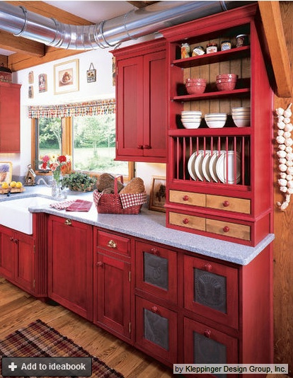 Love the idea of red cabinets! But I really love a good bit of red as an accent color in my kitchen so red cabinets might be a bit much. & 12 best New Kitchen for Maine images on Pinterest | Kitchen ideas ... kurilladesign.com