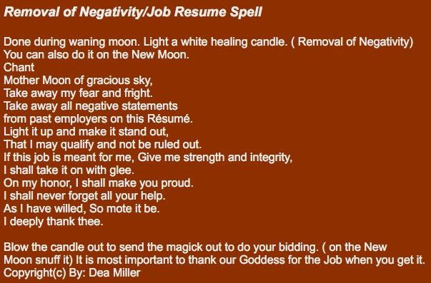 Removal of Negativity\/Job Resume Spell Done during waning moon - how do u spell resume