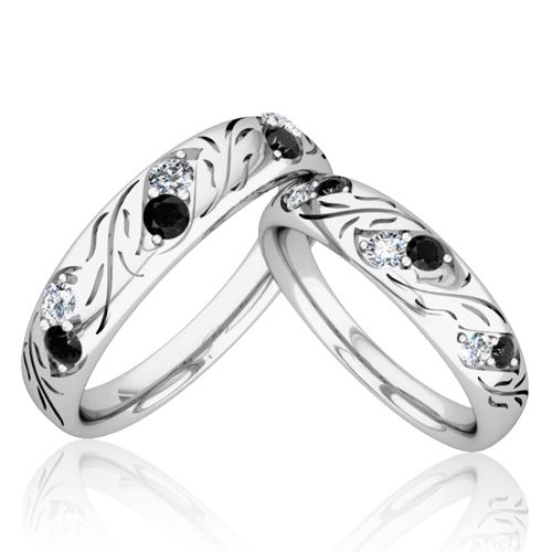 Matching Wedding Bands His And Hers Black And White Diamond Rings In 14k White Or Yellow Gold