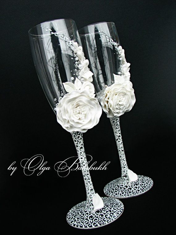 White champagne wedding glasses by ArtsLux on Etsy, $60.00