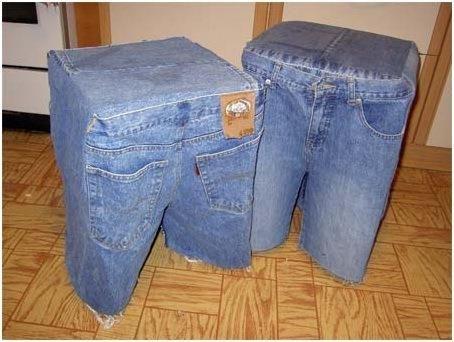 Сидение на табурет из джинсы