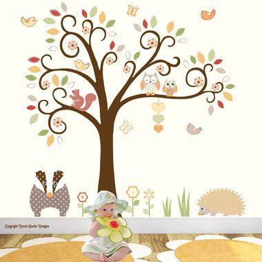 http://www.ruggabub.com.au/unique-baby-products/woodland-animals-nursery-wall-stickers-scene-medium/ Woodland Animals Nursery Wall Stickers Scene - Medium