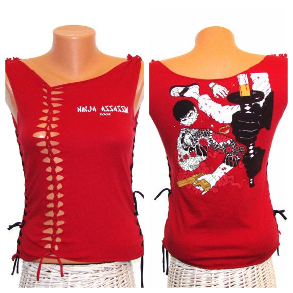 SALE. Upcycled Red Cut T-shirt //  Ninja Assassin 2008 Weaved Refashioned TShirt // Size Small