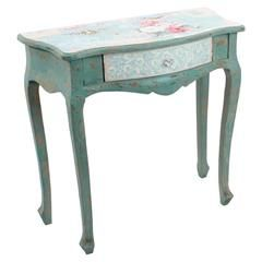 WOODEN CONSOLE (PLYWOOD) W/FABRIC IN PASTEL PATCHWORK W/ BIRD 80Χ38Χ78