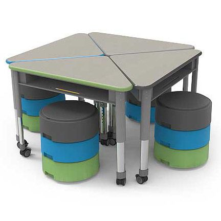 Oodle movement stool for flexible and alternative classroom student seating. Shown with triangle Wing desks- all by Smith System.