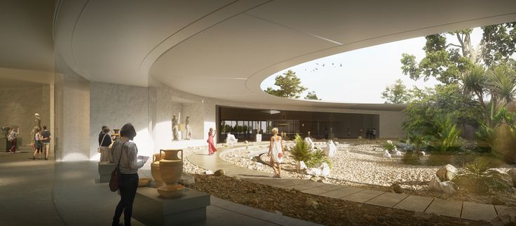 Competition for the Archeological Museum in Cyprus - interior courtyard |Image ©3D Studio Prins