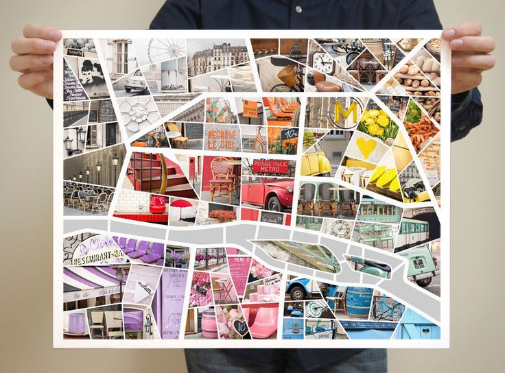 Paris Map with photos from the Paris Color Project. Each arrondissement is a different color.
