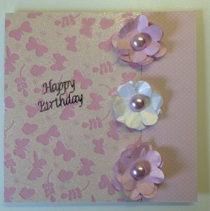 Pink square card with handmade flowers and pearls