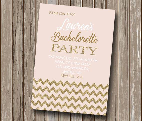 Blush Pink and Gold Chevron Glam Glitter Bachelorette Party Invitation - Bridal Shower Invitation - Baby Shower - Printable - You Print File...