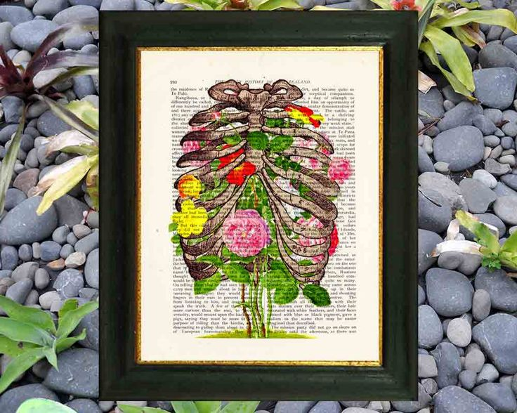 FLOWERY RIBCAGE. Vintage skeleton. Flowers in ribcage. Art on vintage encyclopedia page by VintageTextArt on Etsy