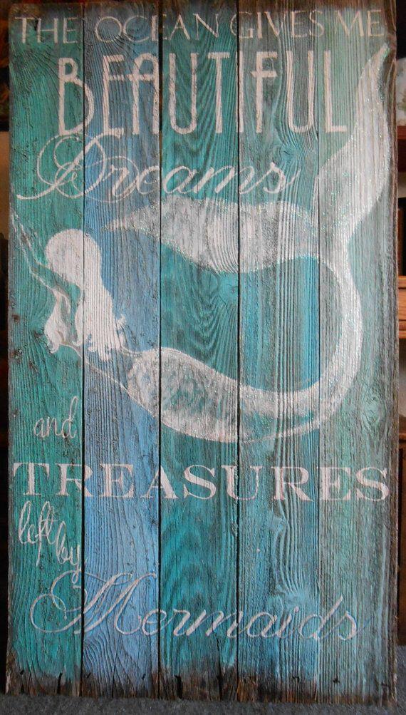 4 ' Mermaid Sign MADE TO ORDER 4 Foot Barnwood by tawnystreasures