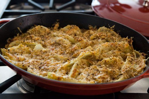 Fennel Gratin---Fennel has a special affinity for Parmesan, and in this simple gratin fennel wedges are tossed with breadcrumbs, Mozzarella and Parm, and baked until golden brown. A lovely side for lighter fare, such chicken or fish, and would also work well as a dressy side for a holiday meal.