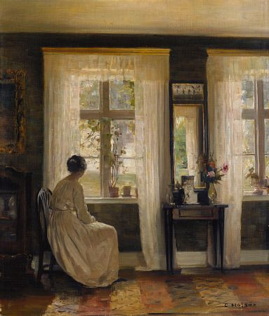 Waiting by the Window by Carl Holsoe (12 March 1863 – 7 November 1935) was a Danish artist who primarily painted interiors.