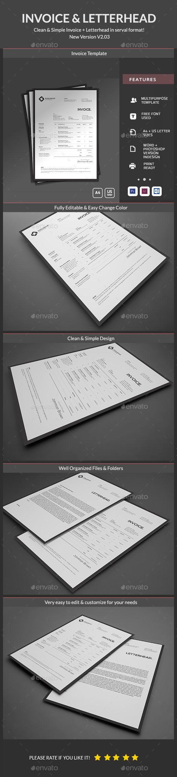 Invoice Template PSD, InDesign INDD, MS Word - A4 and US Letter