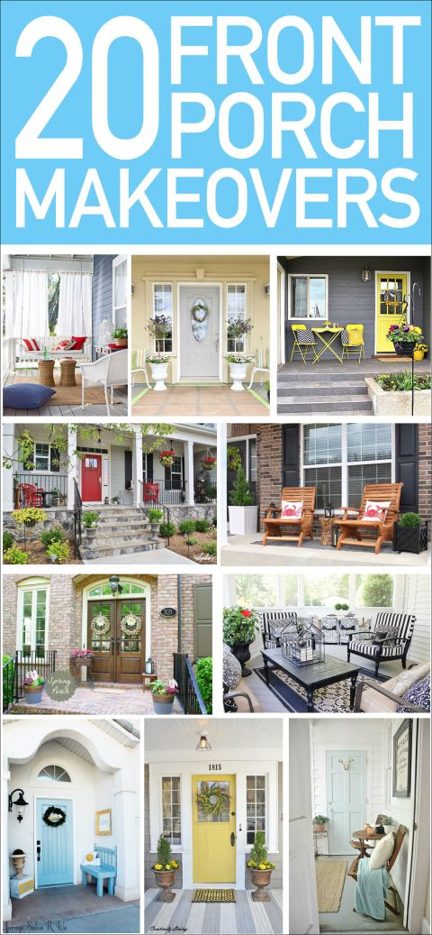 20 front porch makeovers.... We don't have a front porch, but these are great for giving ideas to dress up the front door area