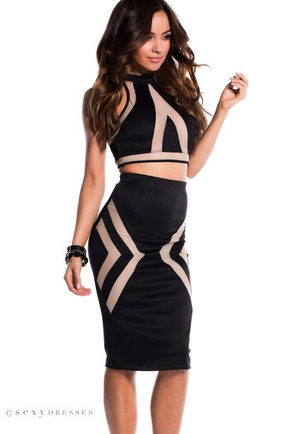 """Tori"" Black Illusion Mesh Cut Out Halter Crop Top Two Piece Dress"