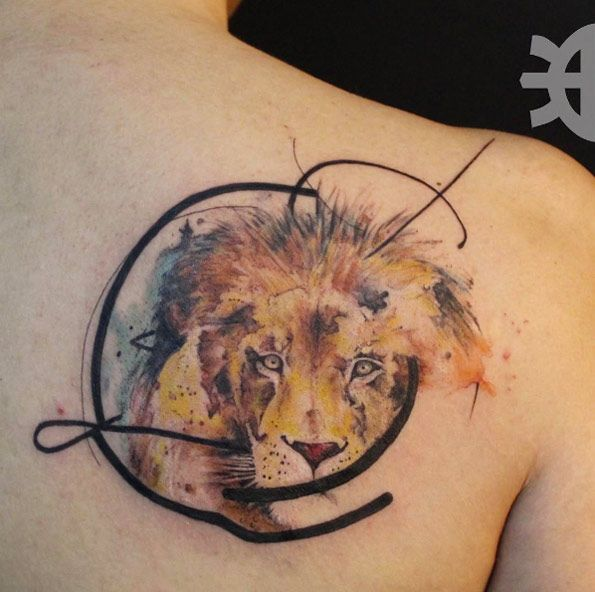 Abstract watercolor lion tattoo by Tayfun Bezgin