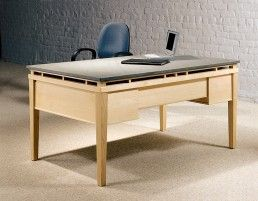 Contemporary Stone top Desk with Maple Wood, Granite or Glass top as executive office desks for sale.