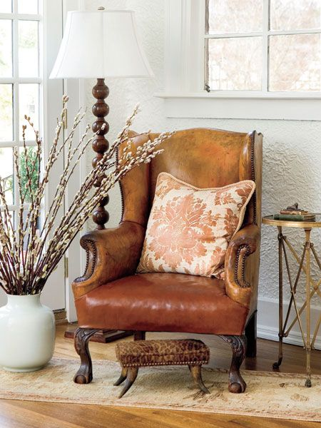 Gorgeous leather wing chair.