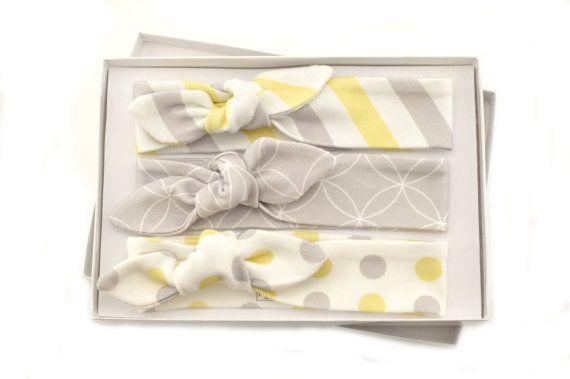 Baby Girl Headband Set/ Set of 3 Headbands/Organic Baby Headbands/Knotted Headbands/ Lattice/Stripe/Polka Dot Headbands. This collection