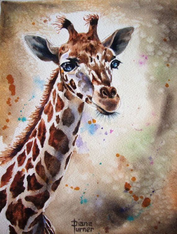 Giraffe Watercolor paintings Original limited edition quality giclee print from my original watercolor giraffe painting Wall Decor 8 x 10