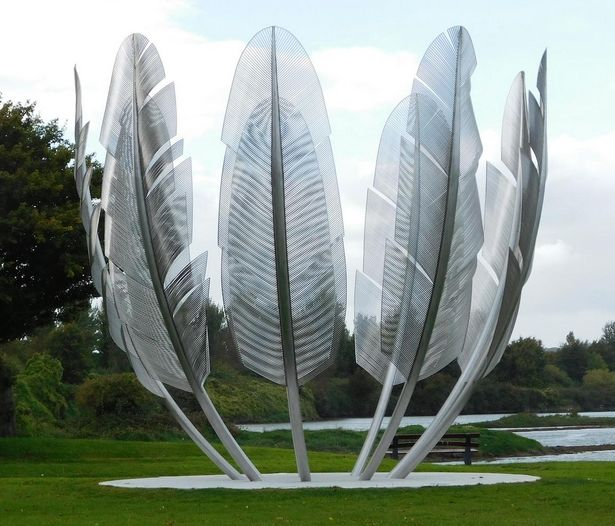 A sculpture of nine eagle feathers commemorates the time in 1847, during the Great Hunger, when the Native American Choctaw People donated a...