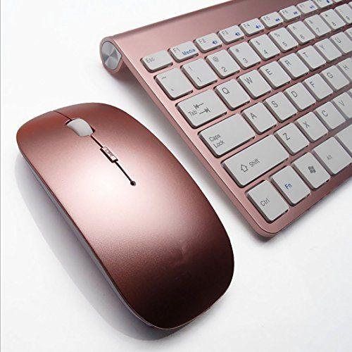 nice Morrivoe Ultra-thin Mini Keyboard Suit 2.4 G Wireless Keyboard- Keyboard and Mouse Combo Bundle(rose)