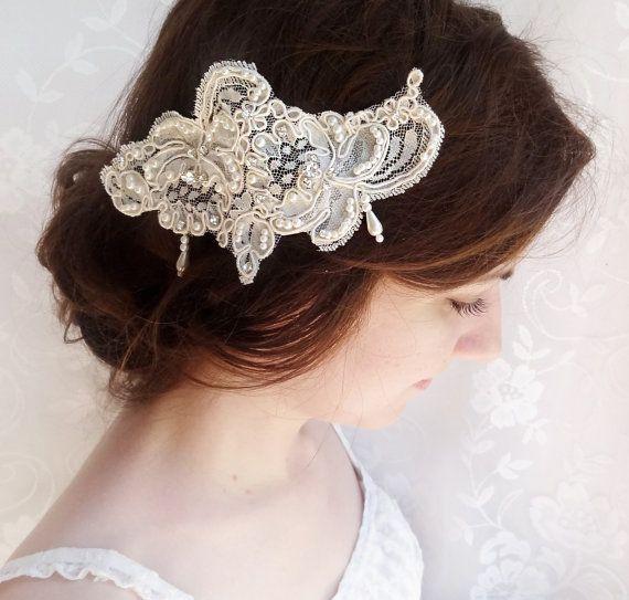 lace bridal hair accessories, rhinestone embellished hairpiece, Alencon lace, lace wedding headpiece - CHLOE - luxury wedding hair comb on Etsy, 528,75kr